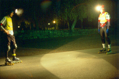 Skating with headlamp, Stockholm 2001