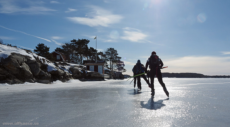 Ice skating in the Stockholm archipelago.